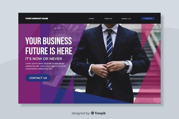 O futuro dos negócios é aqui página de destino com foto