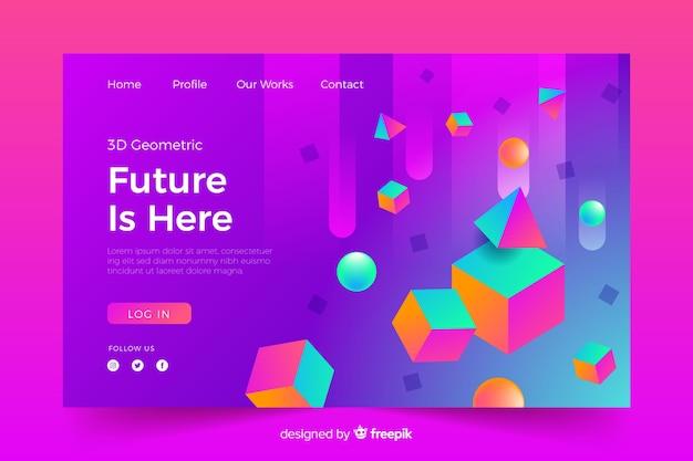 O futuro está aqui página de destino 3d