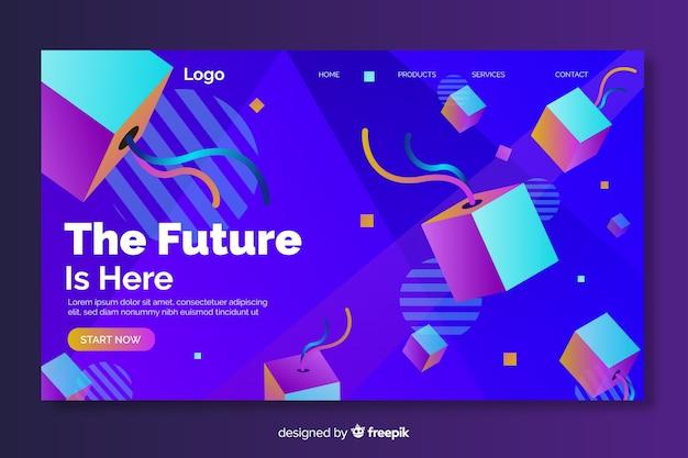 O futuro está aqui página de destino geométrica 3d
