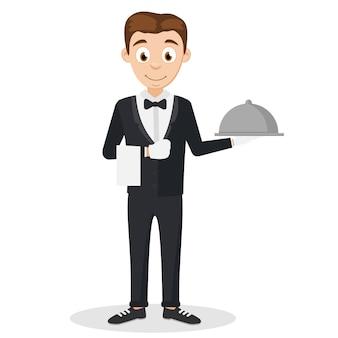 O garçom de terno segurando uma bandeja em um fundo branco.