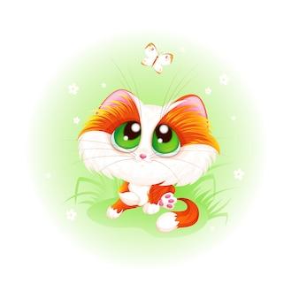 O gatinho bonito vermelho olha uma borboleta branca.