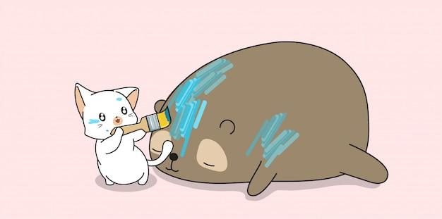 O gato adorável está pintando no urso