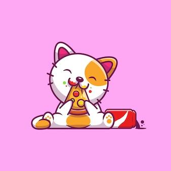 O gato bonito come a pizza