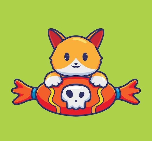O gato bonito ganha um doce de caveira gigante. conceito de evento de halloween animal dos desenhos animados ilustração isolada. estilo simples adequado para vetor de logotipo premium de design de ícone de etiqueta. personagem mascote
