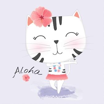 O gato bonito na roupa havaiana dança hula.