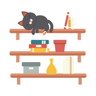 O gato bonito personagem dormindo na estante marrom