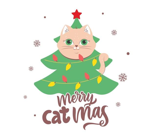 O gato com a árvore para cartões de desenhos de feliz natal o gatinho principal e a frase de letras