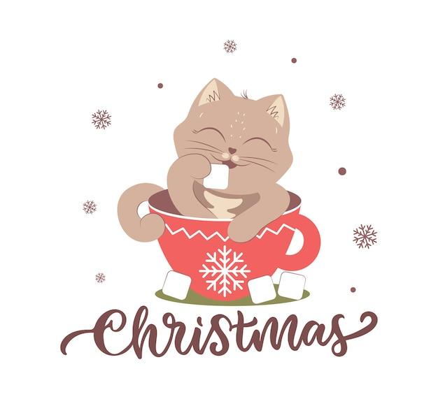 O gato com cacau é bom para o feliz natal os animais de inverno com neve e frase de inscrição
