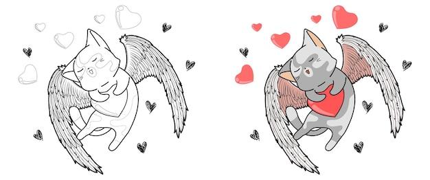 O gato cupido está abraçando o coração na página para colorir de desenho animado do dia dos namorados