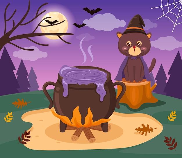 O gato das bruxas fica sentado guardando a panela fervendo de poção