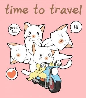 O gato e os amigos do cavaleiro de kawaii estão montando uma motocicleta