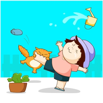 O gato engraçado joga com a menina e morde seu vetor dos desenhos animados do pé.