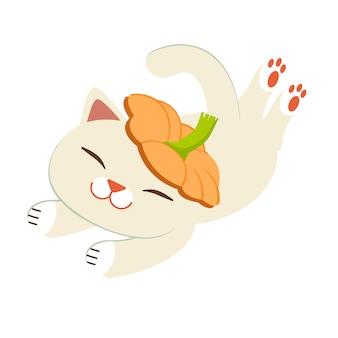 O gato fofo com a abóbora. o personagem dos desenhos animados do gato bonito brincar com a abóbora.