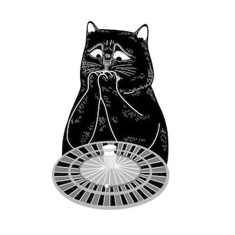 O gato preto joga roleta e espera ganhar o jogo do cazino