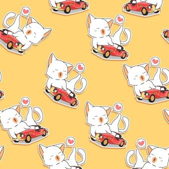 O gato sem emenda do kawaii ama o teste padrão do carro do vintage.