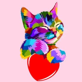 O gato sorridente abraça o coração do amor