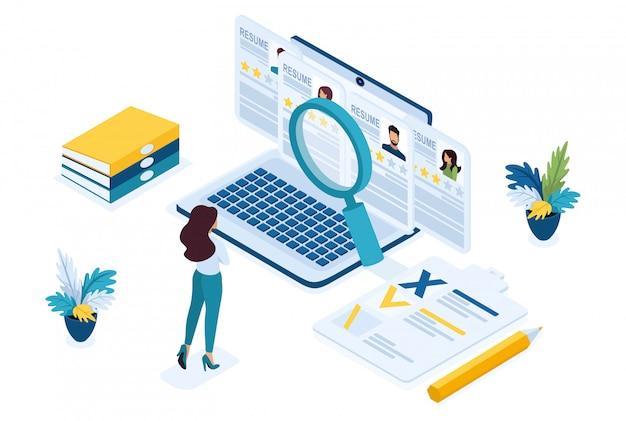 O gerente de rh isométrico, gerente de recrutamento de negócios, analisa as opções de currículo no site.