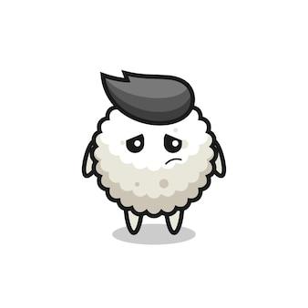 O gesto preguiçoso de personagem de desenho animado de bola de arroz, design de estilo fofo para camiseta, adesivo, elemento de logotipo