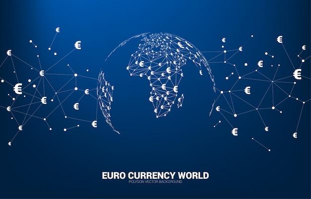 O globo do mundo com ponto do polígono do ícone da moeda do dinheiro euro conectou a linha.