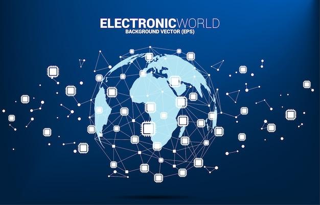 O globo do mundo com ponto do polígono do ícone do processador central conectou a linha. conceito para tecnologia de processador global.