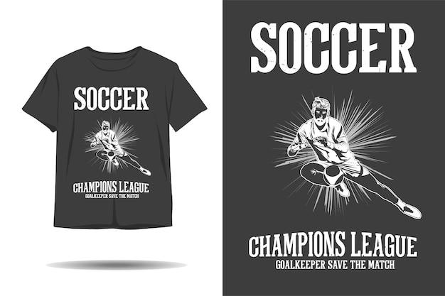 O goleiro da liga dos campeões de futebol salva o design da camiseta da silhueta da partida