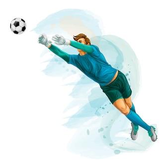 O goleiro de futebol pula para a bola. respingo de aquarelas. ilustração vetorial realista de tintas