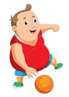 O gordo está jogando a bola de basquete da ilustração