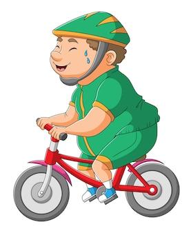 O gordo está pedalando com a bicicleta da ilustração
