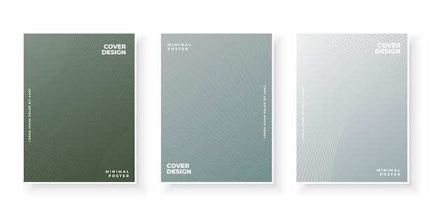 O gradiente de linha texturizada abstrata cobre o conjunto de design de padrão