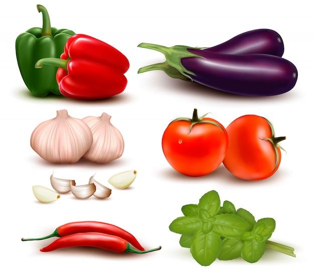 O grande grupo colorido de legumes.