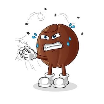O grão de café golpeou o personagem da mosca. mascote dos desenhos animados