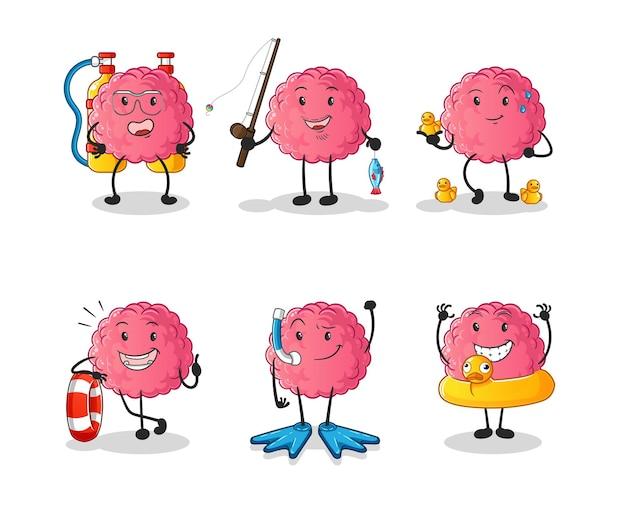 O grupo de atividade de água do cérebro. mascote dos desenhos animados