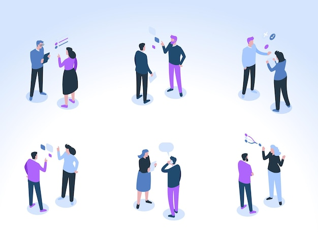 O grupo de empresários se comunica. colegas masculinos e femininos conversam, consultam, discutem tarefas de trabalho. balões de fala e símbolos de fala acima das cabeças.