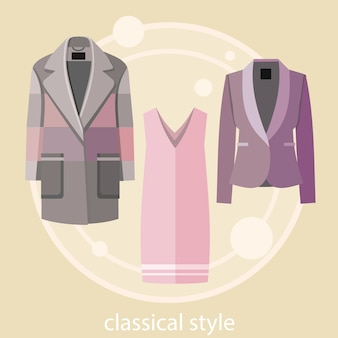 O grupo de estilo clássico do verão e do outono veste a roupa para o escritório na loja da forma. conceito em design plano