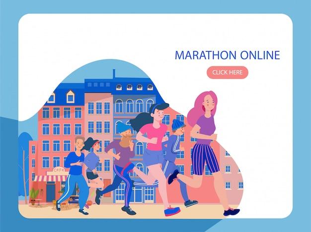 O grupo de pessoas participa de uma maratona, uma ilustração moderna e plana nas cores azuis. desafio da maratona ao redor do mundo, corra uma maratona online em 2020.