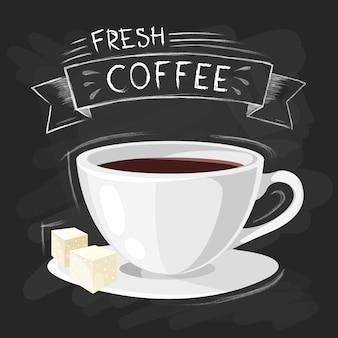 O grupo de tamanhos do copo bebendo do café no estilo do vintage estilizou o desenho com giz no quadro-negro.