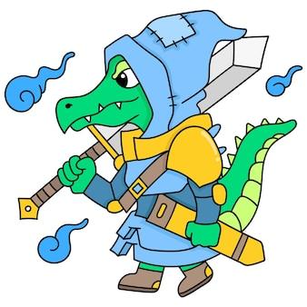 O guerreiro crocodilo caminhava carregando uma grande espada pronta para lutar, doodle draw kawaii. ilustração vetorial arte