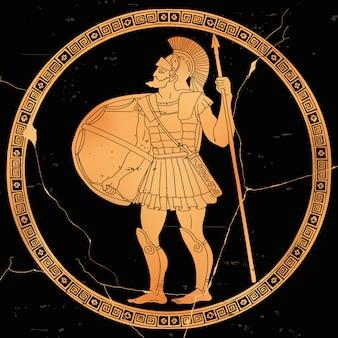 O guerreiro grego antigo com uma lança e um escudo nas mãos está pronto para atacar.