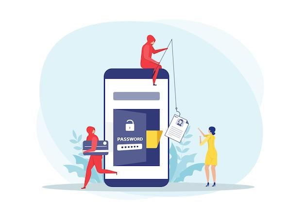 O hacker rouba o cartão de crédito do smartphone e o ladrão de pesca rouba dados pessoais no conceito do telefone.