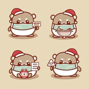O hamster bonito usa máscara médica, lava as mãos e usa hidratante para proteger o coronavírus covid-1. novo conceito normal de natal