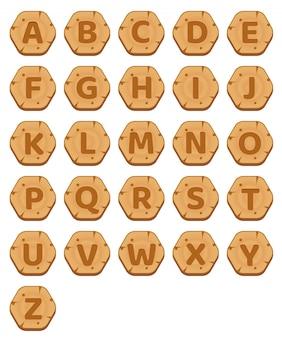 O hexágono abotoa o jogo de palavras de madeira do alfabeto do az.