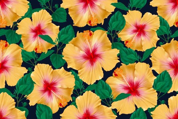 O hibiscus sem emenda do teste padrão floresce o fundo abstrato. ilustração aquarela mão desenhada.