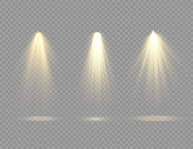 O holofote amarelo brilha na luz do palco de uso exclusivo, lente de flash, efeito de luz luz abstrata de uma lâmpada ou holofote iluminado no pódio da cena sob o vetor holofote