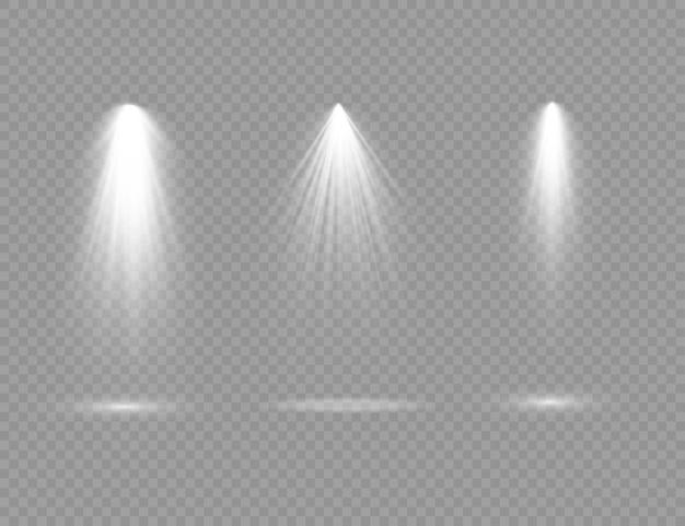 O holofote brilha na luz do palco de uso exclusivo da lente do flash da luz do efeito da luz de uma lâmpada ou holofote iluminou o pódio da cena sob o holofote