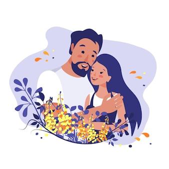 O homem abraça a mulher as relações entre as pessoas