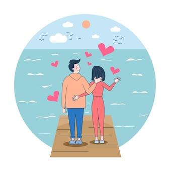 O homem amoroso está carregando sua mulher. feliz sorrindo alegre casal branco. ilustração vetorial de desenho animado