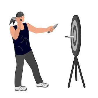 O homem atira dardos no alvo. dardos. ilustração vetorial em um fundo branco isolado