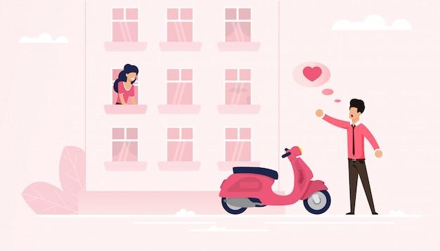 O homem chegou no ciclomotor declara seu amor à alma gêmea