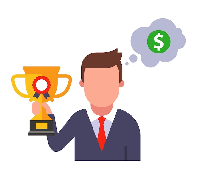 O homem com a taça ganhou o prêmio em dinheiro pela vitória. ilustração de personagem plana.