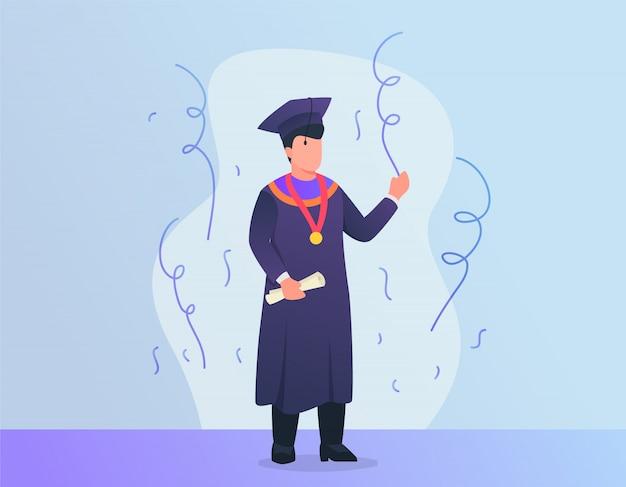 O homem comemora a graduação com chapéu e terno com moderno
